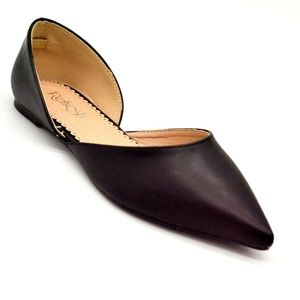 Refresh Womens Hedy Cut Out Flats Size 7 Black Poi